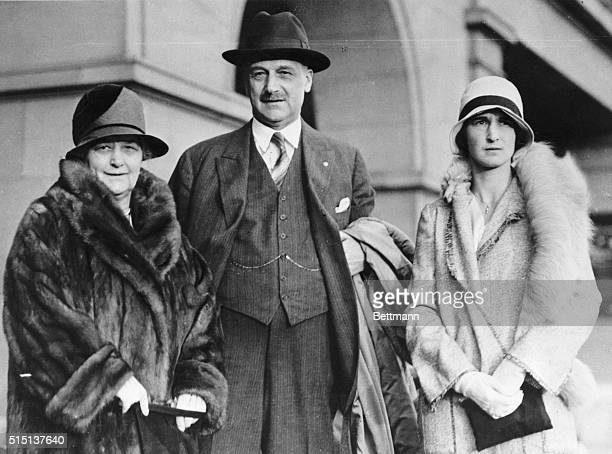 Giannini, wizard of finance, and his wife and daughter, Miss Claire Giannini, leaving from the Ferry Building in San Francisco for a six months trip...