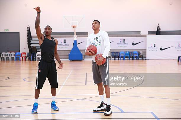 Giannis and Thanasis Antetokounmpo goes through some drill during a workout prior to the Basketball Without Boarders program on July 28 2015 at the...