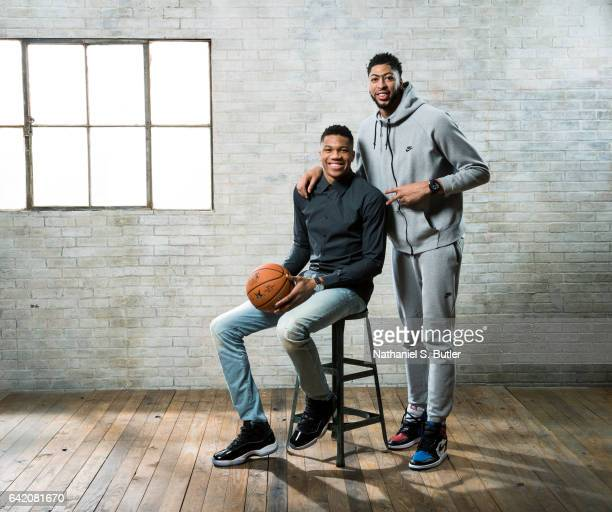 Giannis Anetokounmpo of the Milwaukee Bucks and Anthony Davis of the New Orleans Pelicans poses for a portrait during the 2017 AllStar Media Circuit...