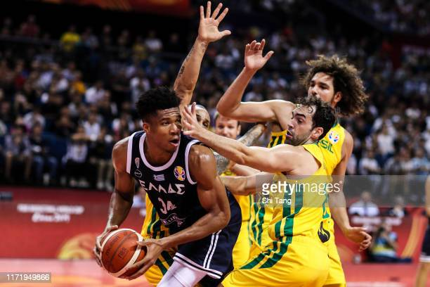 Giannis Antetokounmpo of Greece in action during 2nd round Group F match between Greece and Brazil of 2019 FIBA World Cup at Nanjing Youth Olympic...