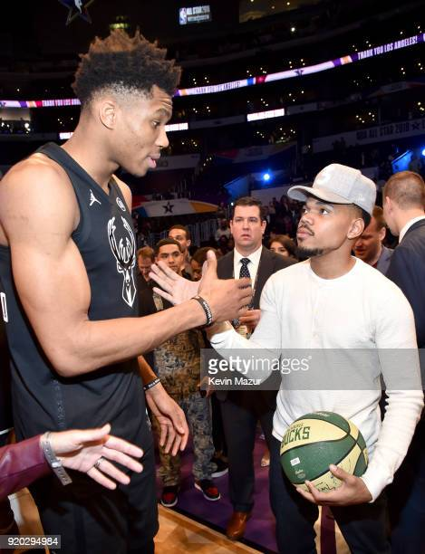 Giannis Antetokounmpo and Chance The Rapper attend the 67th NBA AllStar Game Team LeBron Vs Team Stephen at Staples Center on February 18 2018 in Los...