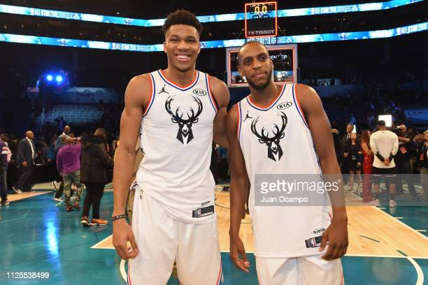 Giannis Antetokounmpo and Khris Middleton of Team Giannis pose for a photo on the court after the 2019 NBA AllStar Game on February 17 2019 at...