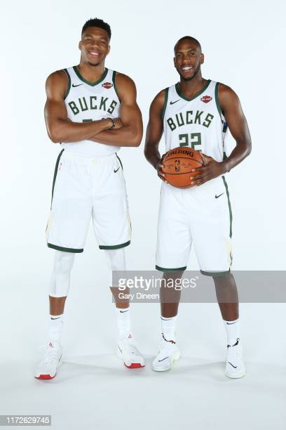 Giannis Antetokounmpo and Khris Middleton of the Milwaukee Bucks pose for a portrait during Media Day at Fiserv Forum on September 30 2019 in...