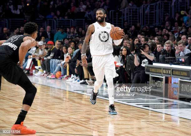 Giannis Antetokounmpo and Kyrie Irving play during the 67th NBA AllStar Game Team LeBron Vs Team Stephen at Staples Center on February 18 2018 in Los...