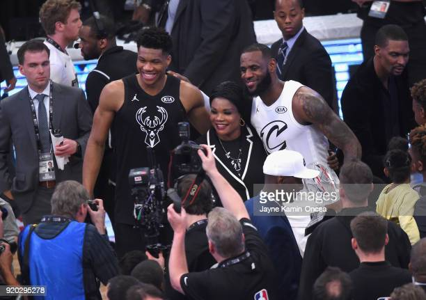 Giannis Antetokounmpo and LeBron James pose for a photo during the NBA AllStar Game 2018 at Staples Center on February 18 2018 in Los Angeles...