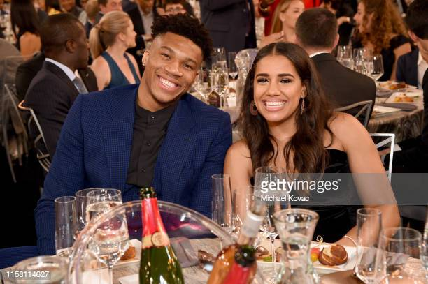 Giannis Antetokounmpo and Mariah Riddlesprigger pose during the 2019 NBA Awards presented by Kia on TNT at Barker Hangar on June 24 2019 in Santa...