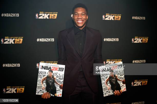 Giannis Antetokounmpo attends the NBA 2K19 launch event at Greenpoint Terminal on August 29 2018 in New York City