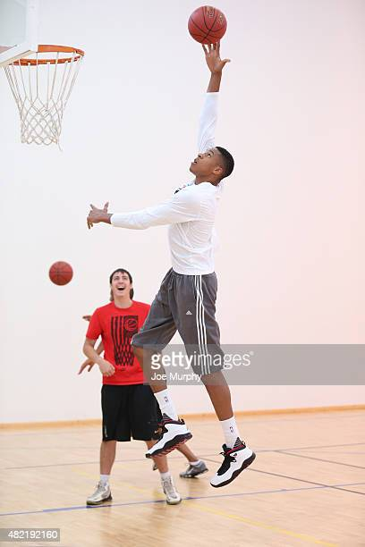 Giannis Antetokounmpo goes through some drill during a workout prior to the Basketball Without Boarders program on July 28 2015 at the American...