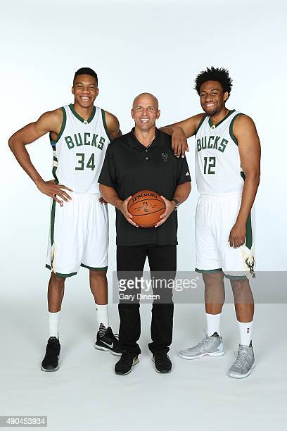 Giannis Antetokounmpo Head Coach Jason Kidd and Jabari Parker of the Milwaukee Bucks pose for a portrait during Media Day on September 28 2015 at the...