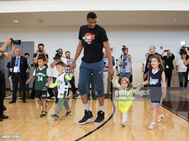 Giannis Antetokounmpo hosts a Greek Freak Week basketball clinic at Adelphi University featuring a lineup of former and current basketball stars from...