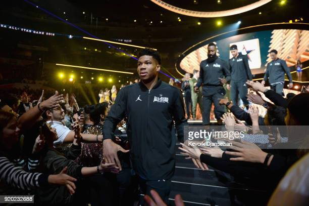 Giannis Antetokounmpo James Harden Stephen Curry and DeMar Derozan high five fans during the NBA AllStar Game 2018 at Staples Center on February 18...
