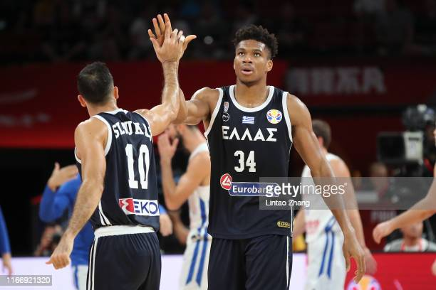 Giannis Antetokounmpo of Greece celebrates after their team's win against Czech during FIBA World Cup 2019 Group K match between Czech Republic and...