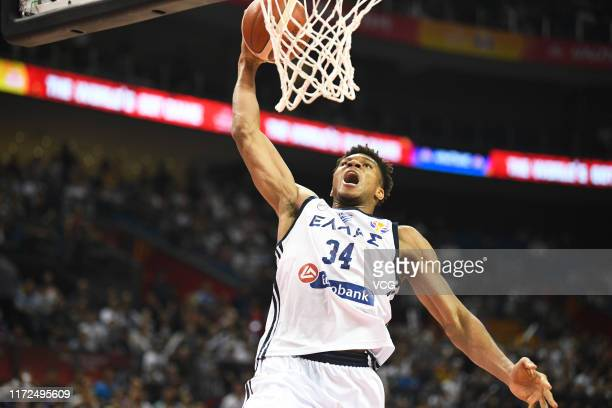Giannis Antetokounmpo of Greece dunks during FIBA World Cup 2019 Group F match between Greece and New Zealand at Gymnasium of Youth Olympic Games...