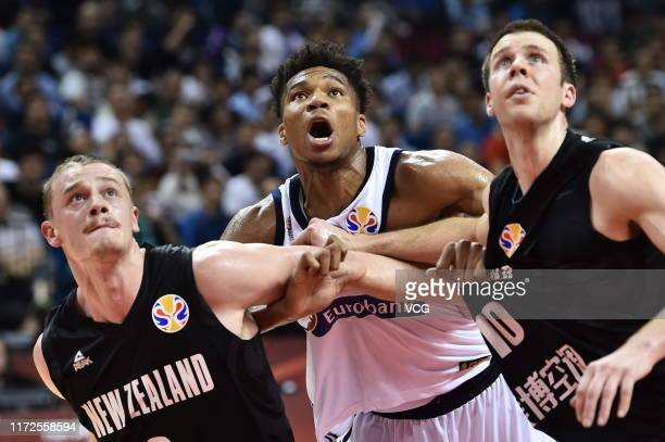 Giannis Antetokounmpo of Greece reacts during FIBA World Cup 2019 Group F match between Greece and New Zealand at Gymnasium of Youth Olympic Games...