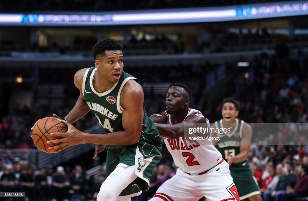 Giannis Antetokounmpo (34) of Milwaukee Bucks during the preseason NBA game between Chicago Bulls and Milwaukee Bucks, in Chicago, United States, on October 6, 2017.