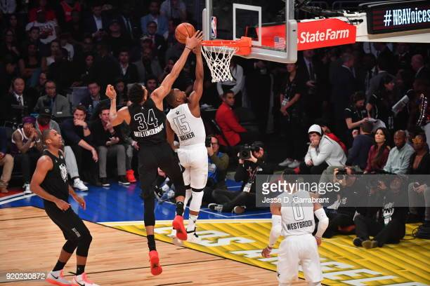 Giannis Antetokounmpo of Team Curry blocks the shot goes up for the ball against Team LeBron during the NBA AllStar Game as a part of 2018 NBA...