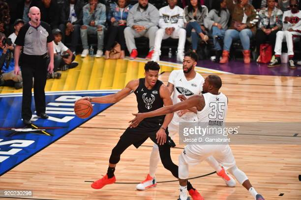 Giannis Antetokounmpo of Team Curry controls the ball in traffic against Team LeBron during the NBA AllStar Game as a part of 2018 NBA AllStar...