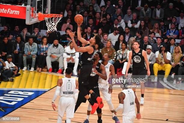 Giannis Antetokounmpo of Team Curry glides tot he basket for the layup against Team LeBron during the NBA AllStar Game as a part of 2018 NBA AllStar...