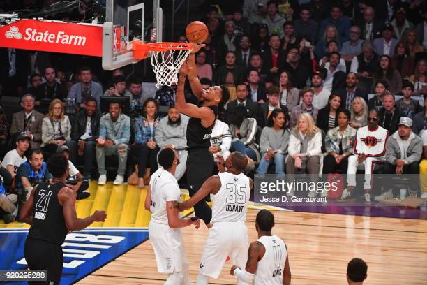 Giannis Antetokounmpo of Team Curry goes up for the layup against Team LeBron during the NBA AllStar Game as a part of 2018 NBA AllStar Weekend at...