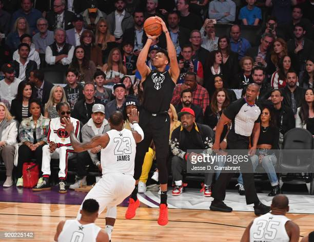 Giannis Antetokounmpo of Team Curry shoots the ball against Team LeBron during the NBA AllStar Game as a part of 2018 NBA AllStar Weekend at STAPLES...