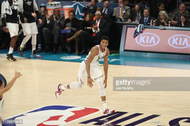 Giannis Antetokounmpo of Team Giannis celebrates during the 2019 NBA AllStar Game on February 17 2019 at the Spectrum Center in Charlotte North...
