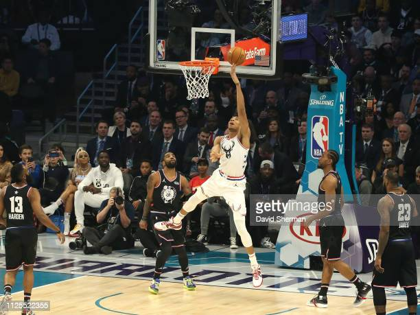 Giannis Antetokounmpo of Team Giannis drives to the basket against Team LeBron during the 2019 NBA AllStar Game on February 17 2019 at the Spectrum...