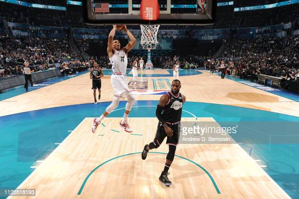 Giannis Antetokounmpo of Team Giannis dunks the ball against Team LeBron during the 2019 NBA AllStar Game on February 17 2019 at the Spectrum Center...