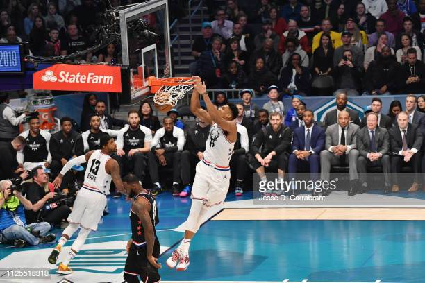Giannis Antetokounmpo of Team Giannis dunks the ball against Team LeBron during the 2019 NBA All Star Game on February 17 2019 at Spectrum Center in...