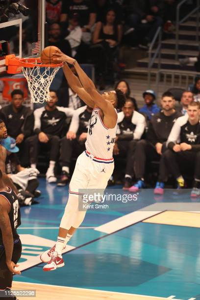 Giannis Antetokounmpo of Team Giannis dunks the ball against Team LeBron during the 2019 NBA AllStar Game on February 17 2019 at the Spectrum Center...