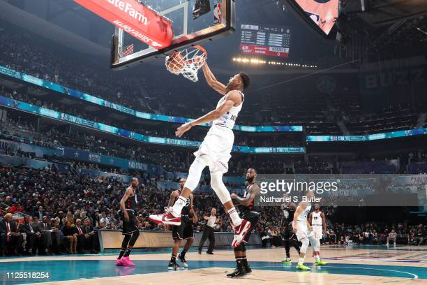 Giannis Antetokounmpo of Team Giannis dunks the ball during the 2019 NBA AllStar Game on February 17 2019 at the Spectrum Center in Charlotte North...