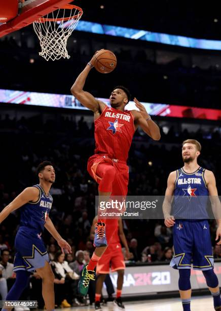 Giannis Antetokounmpo of Team Giannis dunks the ball in the second quarter against Team LeBron during the 69th NBA AllStar Game at the United Center...