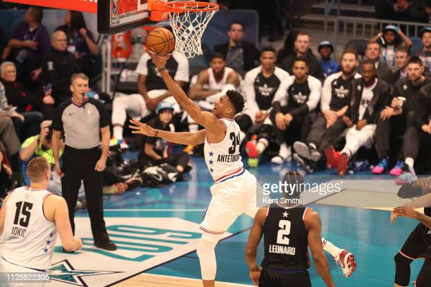 Giannis Antetokounmpo of Team Giannis goes to the basket against Team LeBron during the 2019 NBA AllStar Game on February 17 2019 at the Spectrum...