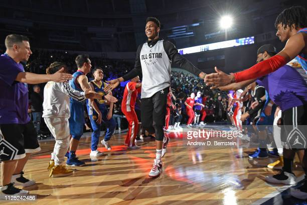 Giannis Antetokounmpo of Team Giannis is introduced before 2019 NBA AllStar Practice and Media Availability on February 16 2019 at Bojangles Coliseum...