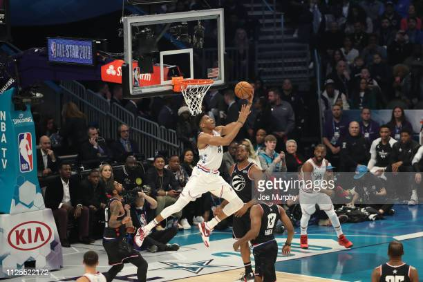 Giannis Antetokounmpo of Team Giannis shoots during the 2019 NBA AllStar Game on February 17 2019 at the Spectrum Center in Charlotte North Carolina...