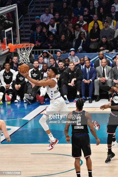 Giannis Antetokounmpo of Team Giannis shoots the ball against Team LeBron during the 2019 NBA All Star Game on February 17 2019 at Spectrum Center in...