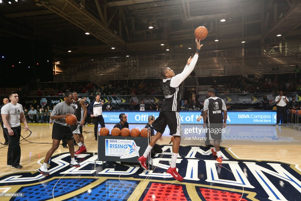 Giannis Antetokounmpo of Team Hill participates in the BBVA Compass Rising Stars Challenge 2014 at Sprint Arena during the 2014 NBA All-Star Jam Session at the Ernest N. Morial Convention Center on February 14, 2014 in New Orleans, Louisiana.