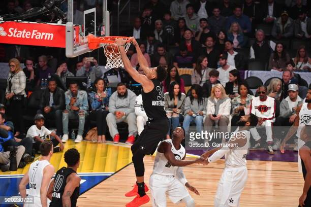 Giannis Antetokounmpo of Team LeBron dunks the ball against Team Curry during the NBA AllStar Game as a part of 2018 NBA AllStar Weekend at STAPLES...