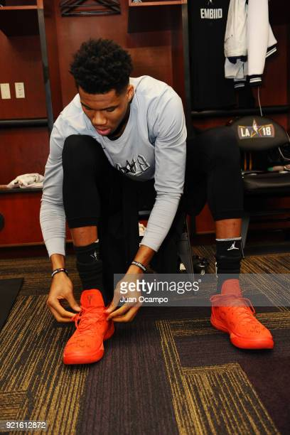 Giannis Antetokounmpo of team LeBron gets ready in the locker room prior to the NBA AllStar Game as a part of 2018 NBA AllStar Weekend at STAPLES...