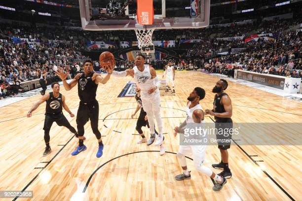 Giannis Antetokounmpo Of Team Stephen and Russell Westbrook Of Team LeBron fight for the rebound during the NBA AllStar Game as a part of 2018 NBA...