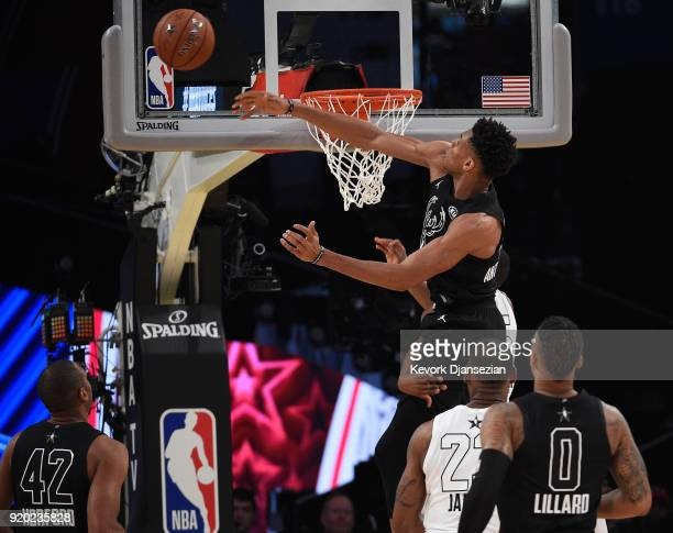 Giannis Antetokounmpo of Team Stephen blocks a shot during the NBA AllStar Game 2018 at Staples Center on February 18 2018 in Los Angeles California
