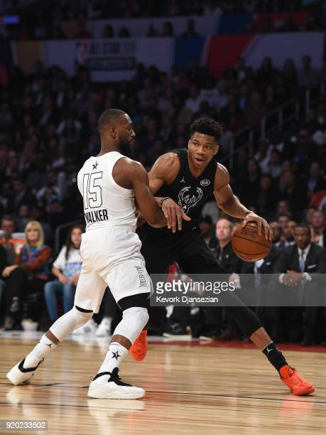 Giannis Antetokounmpo of Team Stephen drives on Kemba Walker of Team LeBron during the NBA AllStar Game 2018 at Staples Center on February 18 2018 in...
