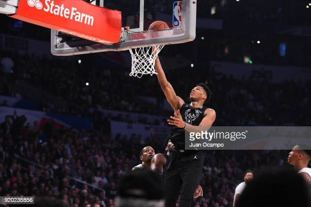 Giannis Antetokounmpo of Team Stephen drives to the basket during the NBA AllStar Game as a part of 2018 NBA AllStar Weekend at STAPLES Center on...