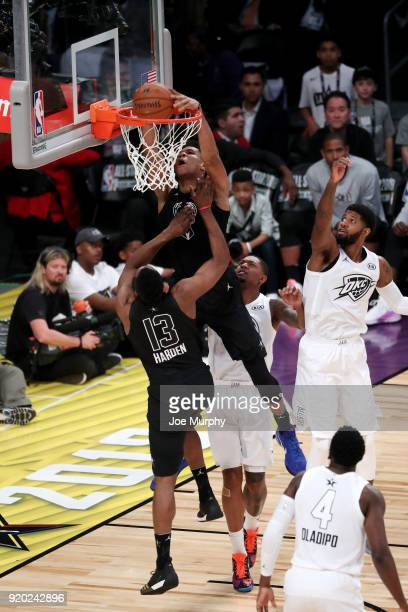 Giannis Antetokounmpo of Team Stephen dunks against Team LeBron during the NBA AllStar Game as a part of 2018 NBA AllStar Weekend at STAPLES Center...