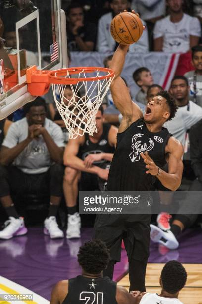 Giannis Antetokounmpo of Team Stephen dunks in the fourth quarter during the 2018 NBA AllStar Game at the Staples Center in Los Angeles California on...
