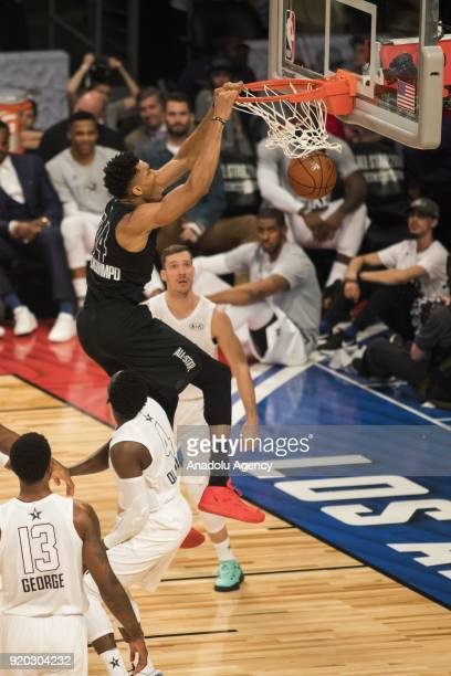 Giannis Antetokounmpo of Team Stephen dunks in the second quarter during the 2018 NBA AllStar Game at the Staples Center in Los Angeles California on...