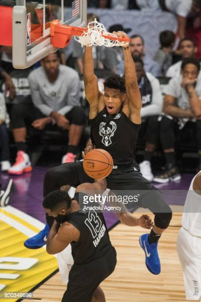 Giannis Antetokounmpo of Team Stephen dunks in the third quarter during the 2018 NBA AllStar Game at the Staples Center in Los Angeles California on...