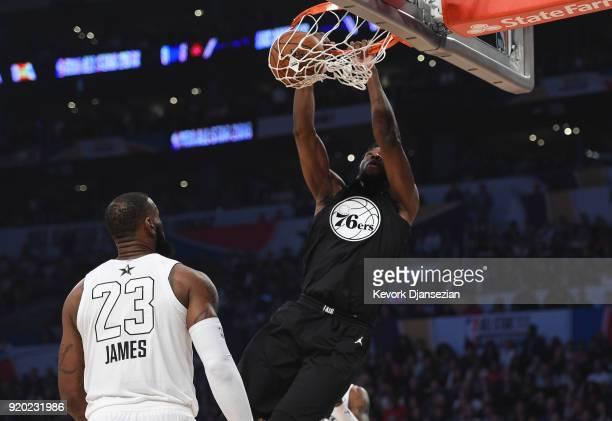 Giannis Antetokounmpo of Team Stephen dunks on LeBron James of Team LeBron during the NBA AllStar Game 2018 at Staples Center on February 18 2018 in...