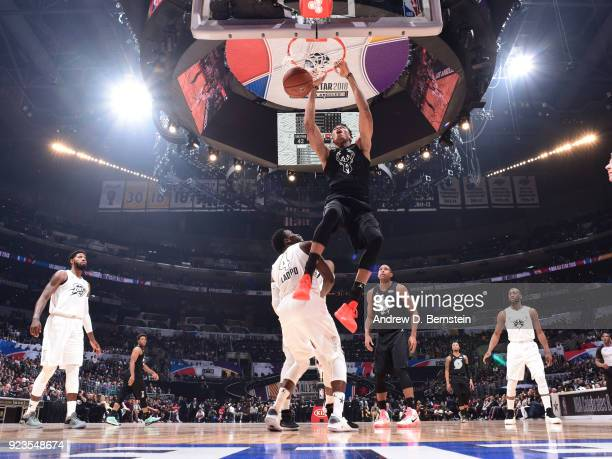 Giannis Antetokounmpo of team Stephen dunks the ball during the NBA AllStar Game as a part of 2018 NBA AllStar Weekend at STAPLES Center on February...