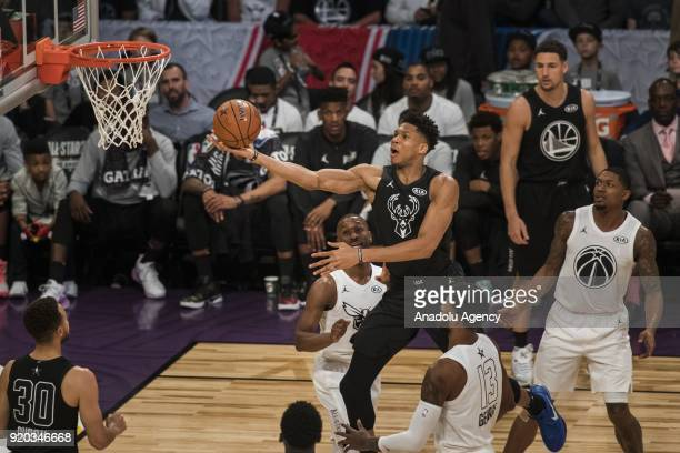 Giannis Antetokounmpo of Team Stephen goes for the lay up in the third quarter during the 2018 NBA AllStar Game at the Staples Center in Los Angeles...