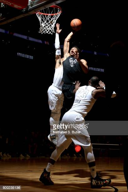 Giannis Antetokounmpo of Team Stephen goes to the basket against Team LeBron during the NBA AllStar Game as a part of 2018 NBA AllStar Weekend at...